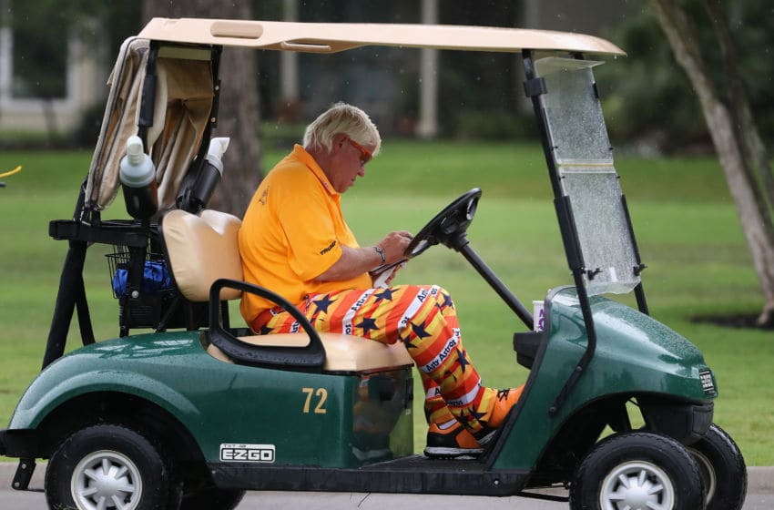 THE WOODLANDS, TX - MAY 03: John Daly looks at his scorecard on the second hole during round one of the Insperity Invitational at The Woodlands Country Club on May 03, 2019 in The Woodlands, Texas. (Photo by Christian Petersen/Getty Images)