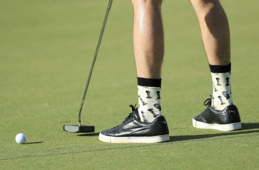 HONOLULU, HAWAII - JANUARY 07: A detail of the socks of Graham DeLaet of Canada during practice prior to the Sony Open in Hawaii at the Waialae Country Club on January 07, 2020 in Honolulu, Hawaii. (Photo by Sam Greenwood/Getty Images)