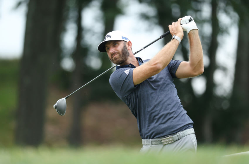 CROMWELL, CONNECTICUT - JUNE 27: Dustin Johnson of the United States plays his shot from the 18th tee during the third round of the Travelers Championship at TPC River Highlands on June 27, 2020 in Cromwell, Connecticut. (Photo by Maddie Meyer/Getty Images)