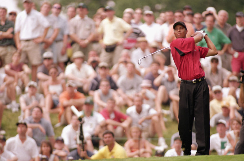 DUBLIN, OH - JUNE 6: Tiger Woods follows his shot during The Memorial Tournament at the Muirfield Village Golf Course on June 6, 1999 in Dublin, Ohio. (Photo by: Donald Miralle/Getty Images)