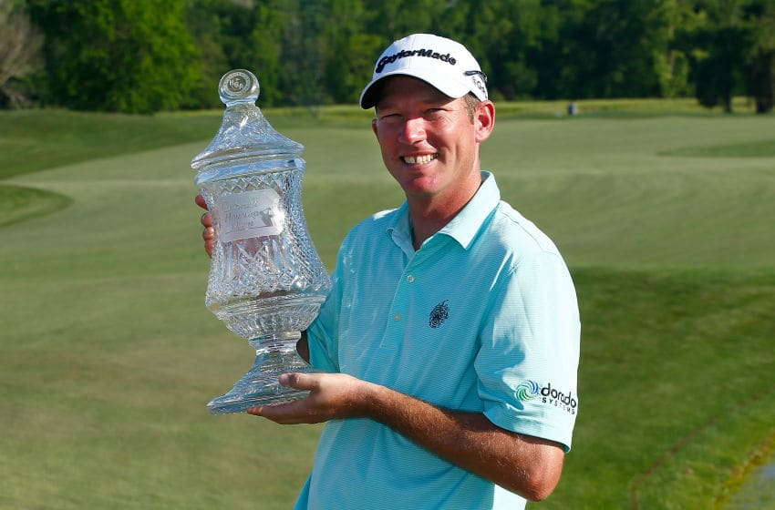 HUMBLE, TX - APRIL 03: Jim Herman of the United States poses with the trophy after his victory at the Shell Houston Open at the Golf Club of Houston on April 3, 2016 in Humble, Texas. (Photo by Scott Halleran/Getty Images)