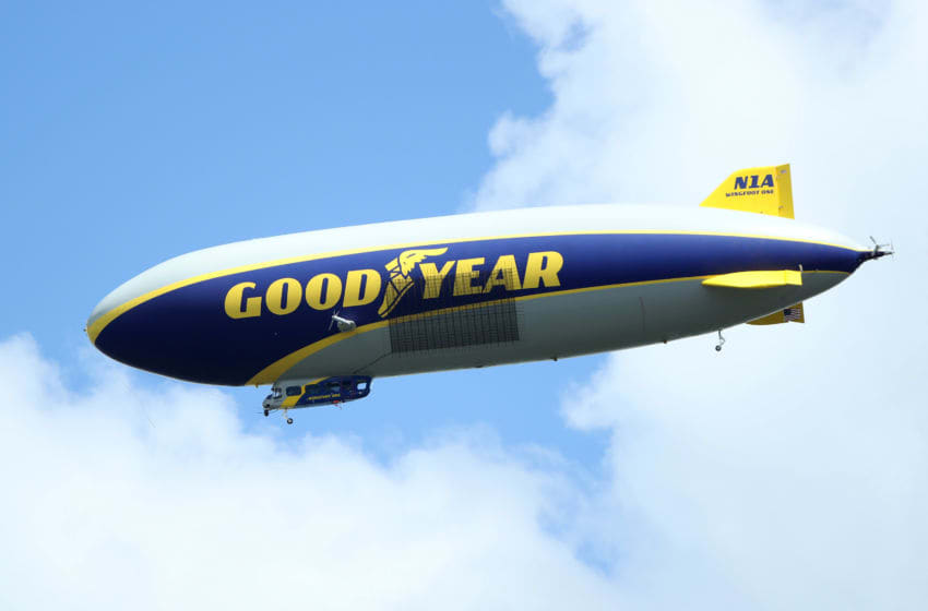 CHARLOTTE, NC - AUGUST 12: The goodyear blimp is seen over the course during the third round of the 2017 PGA Championship at Quail Hollow Club on August 12, 2017 in Charlotte, North Carolina. (Photo by Sam Greenwood/Getty Images)
