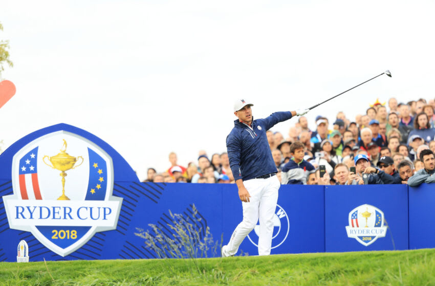 PARIS, FRANCE - SEPTEMBER 28: Brooks Koepka of the United States tees off on the seventh during the morning fourball matches of the 2018 Ryder Cup at Le Golf National on September 28, 2018 in Paris, France. (Photo by Andrew Redington/Getty Images)