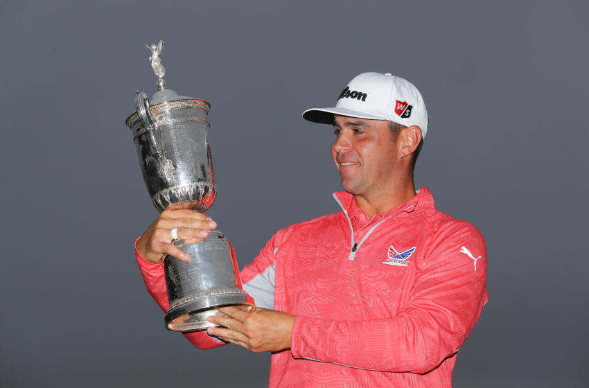 PEBBLE BEACH, CALIFORNIA - JUNE 16: Gary Woodland of the United States poses with the trophy after winning the 2019 U.S. Open at Pebble Beach Golf Links on June 16, 2019 in Pebble Beach, California. (Photo by Warren Little/Getty Images)