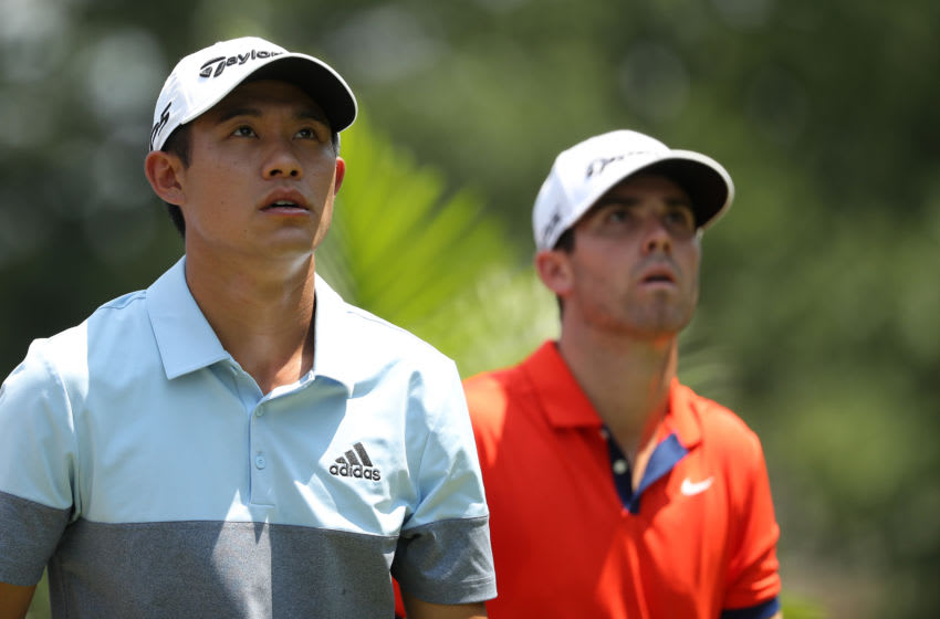 GREENSBORO, NORTH CAROLINA - AUGUST 01: (L-R) Collin Morikawa and Matthew Wolff watch on at the third hole during the first round of the Wyndham Championship at Sedgefield Country Club on August 01, 2019 in Greensboro, North Carolina. (Photo by Streeter Lecka/Getty Images)