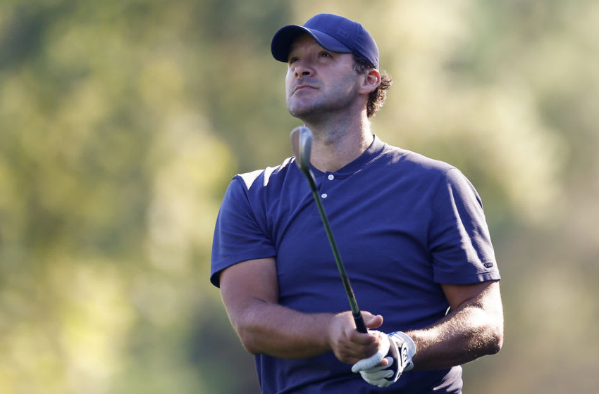 NAPA, CALIFORNIA - SEPTEMBER 27: Tony Romo hits on the 10th hole during the second round of the Safeway Open at Silverado Resort on September 27, 2019 in Napa, California. (Photo by Jonathan Ferrey/Getty Images)