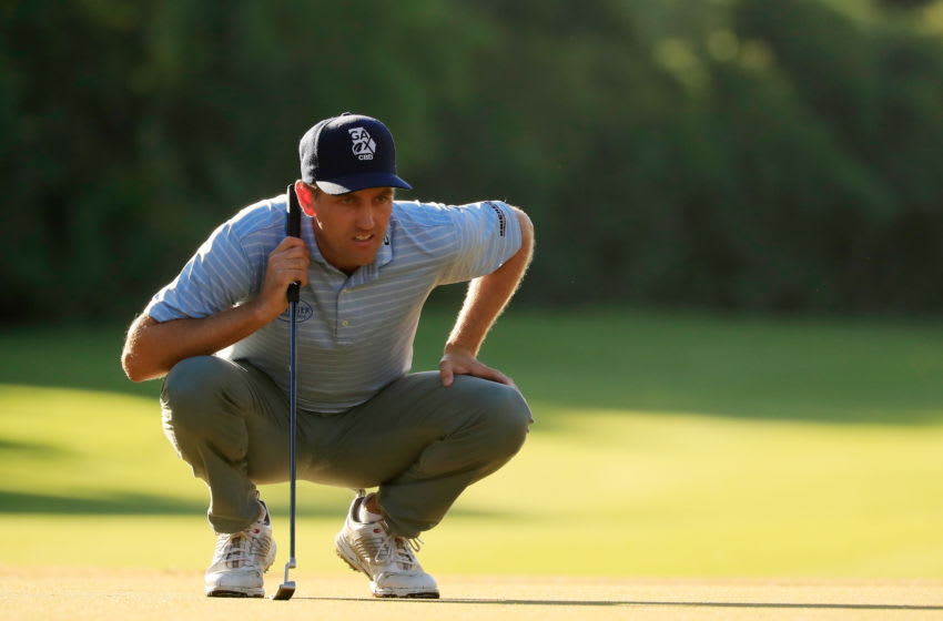 PLAYA DEL CARMEN, MEXICO - NOVEMBER 18: Brendon Todd of the United States lines up a putt on the 18th green during the continuation of the final round of the Mayakoba Golf Classic at El Camaleon Mayakoba Golf Course on November 18, 2019 in Playa del Carmen, Mexico. (Photo by Cliff Hawkins/Getty Images)