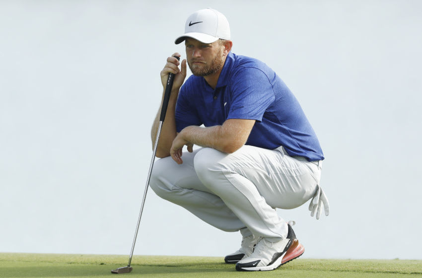 MEMPHIS, TENNESSEE - JULY 31: Tom Lewis of England looks over a putt on the 12th green during the second round of the World Golf Championship-FedEx St Jude Invitational at TPC Southwind on July 31, 2020 in Memphis, Tennessee. (Photo by Michael Reaves/Getty Images)