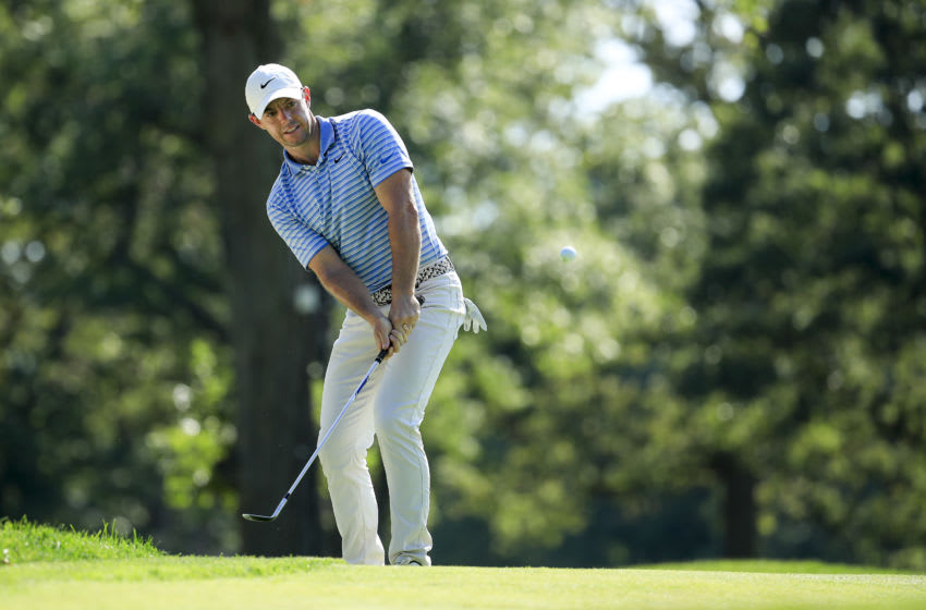 OLYMPIA FIELDS, ILLINOIS - AUGUST 28: Rory McIlroy of Northern Ireland plays his fourth shot on the fifth green during the second round of the BMW Championship on the North Course at Olympia Fields Country Club on August 28, 2020 in Olympia Fields, Illinois. (Photo by Andy Lyons/Getty Images)