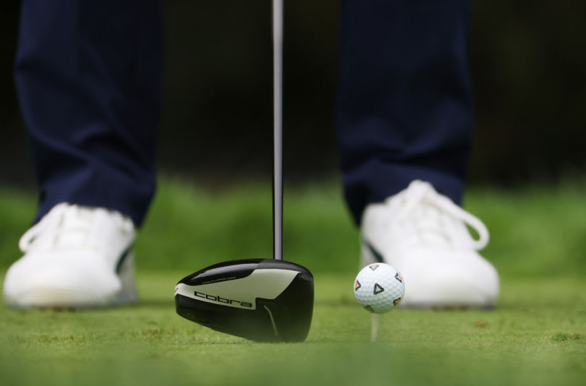 MAMARONECK, NEW YORK - SEPTEMBER 18: A detailed view of a golf ball and driver belonging to Rickie Fowler of the United States are seen during the second round of the 120th U.S. Open Championship on September 18, 2020 at Winged Foot Golf Club in Mamaroneck, New York. (Photo by Jamie Squire/Getty Images)