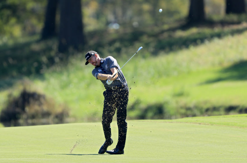 JACKSON, MISSISSIPPI - OCTOBER 01: Jimmy Walker plays his shot on the eighth hole during the first round of the Sanderson Farms Championship at The Country Club of Jackson on October 01, 2020 in Jackson, Mississippi. (Photo by Sam Greenwood/Getty Images)