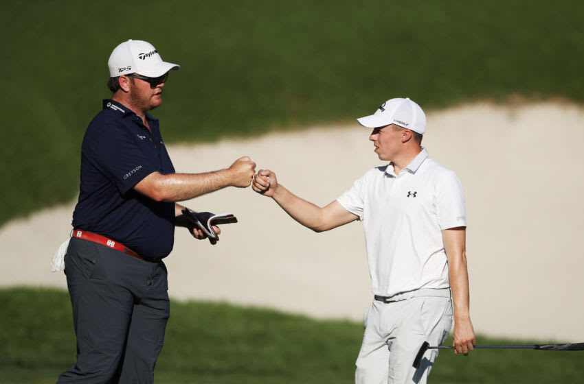 LAS VEGAS, NEVADA - OCTOBER 18: Harry Higgs of the United States and Matthew Fitzpatrick of England bump fists on the 18th green during the final round of The CJ Cup @ Shadow Creek on October 18, 2020 in Las Vegas, Nevada. (Photo by Christian Petersen/Getty Images)