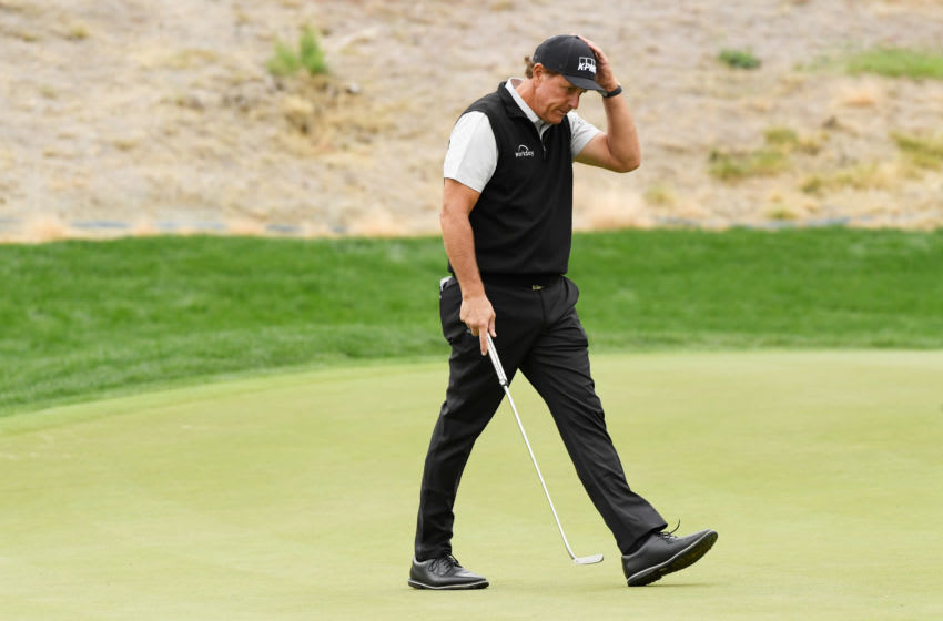 THOUSAND OAKS, CALIFORNIA - OCTOBER 23: Phil Mickelson of the United States reacts on the 12th green during the second round of the Zozo Championship @ Sherwood on October 23, 2020 in Thousand Oaks, California. (Photo by Harry How/Getty Images)
