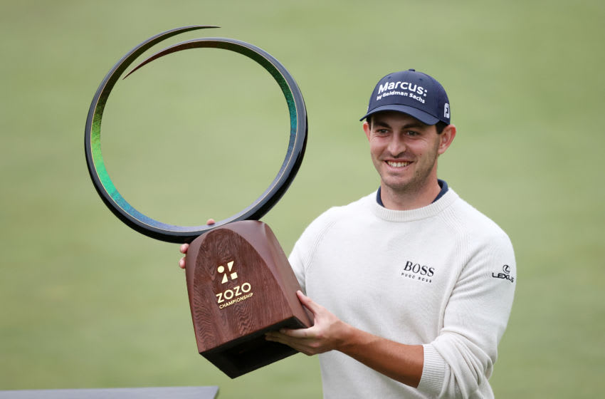 THOUSAND OAKS, CALIFORNIA - OCTOBER 25: Patrick Cantlay of the United States celebrates with the trophy after winning during the final round of the Zozo Championship @ Sherwood on October 25, 2020 in Thousand Oaks, California. (Photo by Ezra Shaw/Getty Images)