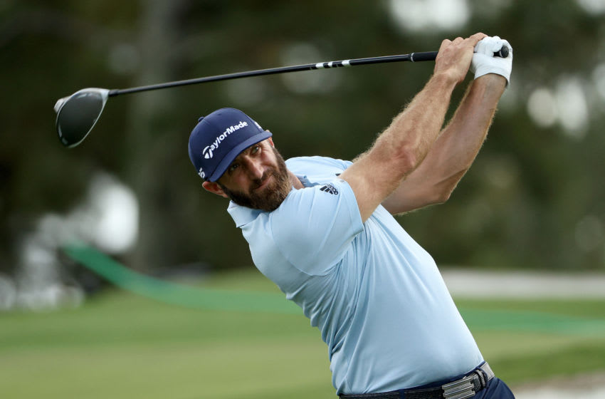 AUGUSTA, GEORGIA - NOVEMBER 09: Dustin Johnson of the United States plays his shot from the third tee during a practice round prior to the Masters at Augusta National Golf Club on November 09, 2020 in Augusta, Georgia. (Photo by Patrick Smith/Getty Images)