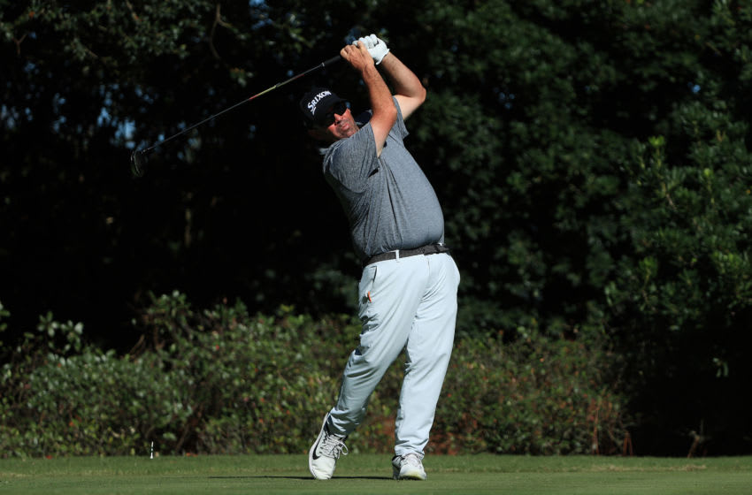 ST SIMONS ISLAND, GEORGIA - NOVEMBER 20: Kevin Stadler of the United States plays his shot from the 17th tee during the second round of The RSM Classic at the Plantation Course at Sea Island Golf Club on November 20, 2020 in St Simons Island, Georgia. (Photo by Sam Greenwood/Getty Images)
