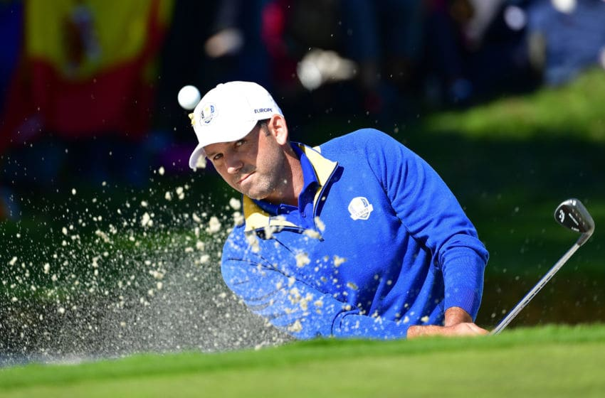 PARIS, FRANCE - SEPTEMBER 30: Sergio Garcia of Europe plays out of a bunker during singles matches of the 2018 Ryder Cup at Le Golf National on September 30, 2018 in Paris, France. (Photo by Stuart Franklin/Getty Images)