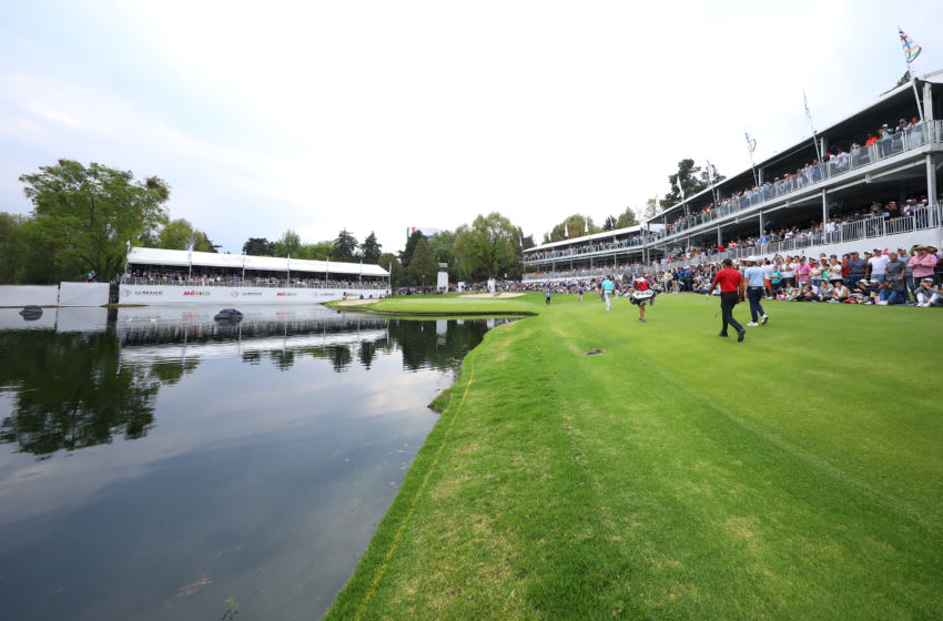 MEXICO CITY, MEXICO - FEBRUARY 24: Tiger Woods of United States walks into the 17th hole during the final round of World Golf Championships-Mexico Championship at Club de Golf Chapultepec on February 24, 2019 in Mexico City, Mexico. (Photo by Hector Vivas/Getty Images)