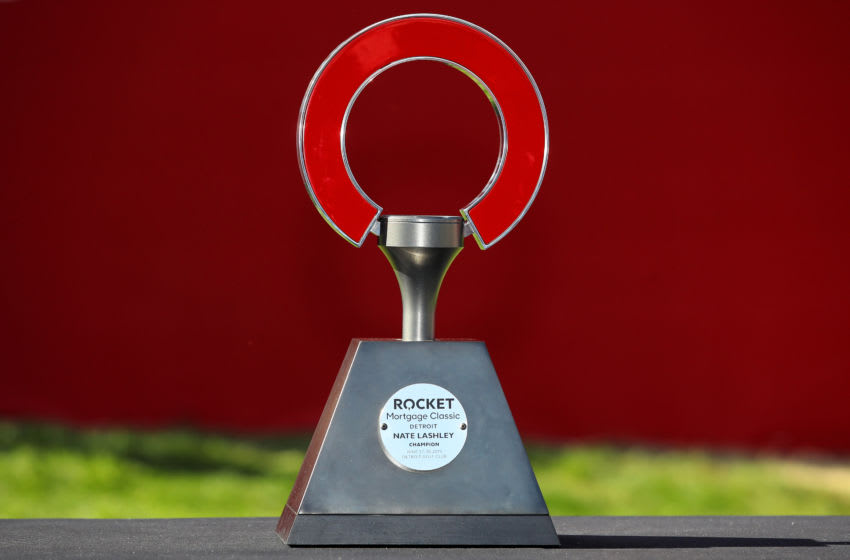 DETROIT, MICHIGAN - JUNE 30: A detail view of the trophy after Nate Lashley won the Rocket Mortgage Classic at the Detroit Country Club on June 30, 2019 in Detroit, Michigan. (Photo by Gregory Shamus/Getty Images)
