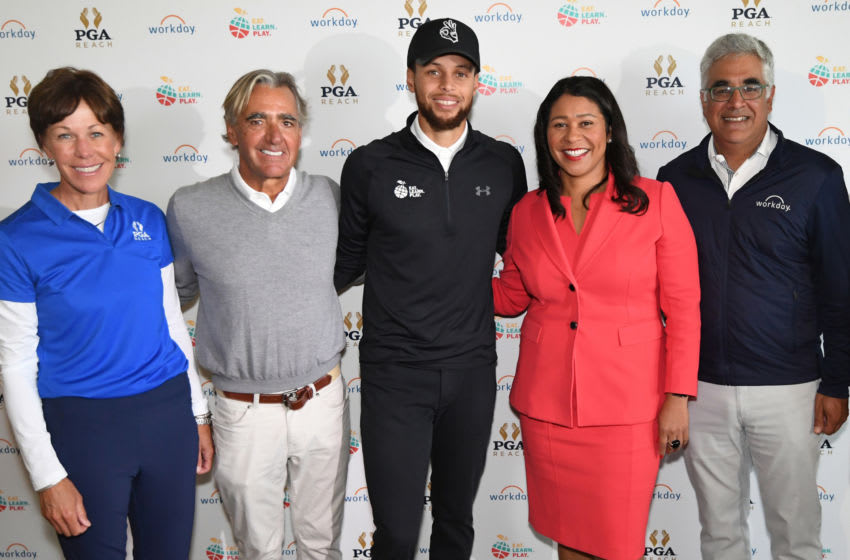 SAN FRANCISCO, CA - SEPTEMBER 16: (L-R) PGA of America President, Suzy Whaley, PGA of America CEO, Seth Waugh, Stephen Curry, Mayor of San Francisco London Breed and Workday CEO, Aneel Bhusri pose for a photo during the 2019 Stephen Curry Charity Classic presented by Workday at TPC Harding Park on September 16, 2019 in San Francisco, California. (Photo by Noah Graham/Getty Images for PGA of America)