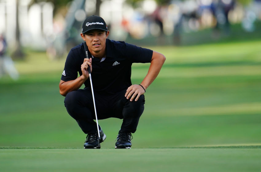 NAPA, CALIFORNIA - SEPTEMBER 29: Collin Morikawa lines up a putt on the 18th green during the final round of the Safeway Open at the Silverado Resort on September 29, 2019 in Napa, California. (Photo by Daniel Shirey/Getty Images)