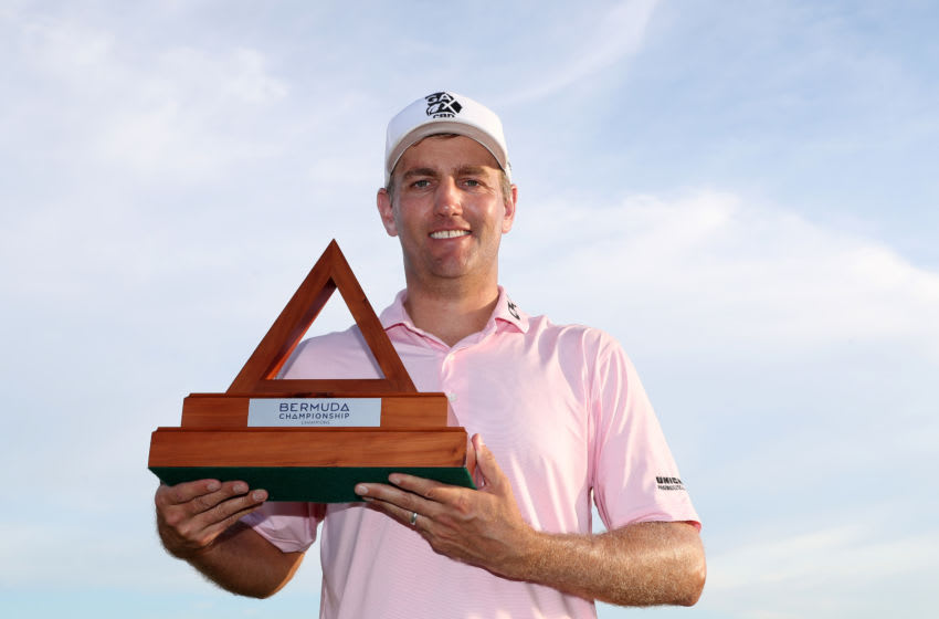 SOUTHAMPTON, BERMUDA - NOVEMBER 03: Brendon Todd of the United States celebrates with the trophy after winning the Bermuda Championship at Port Royal Golf Course on November 03, 2019 in Southampton, Bermuda. (Photo by Rob Carr/Getty Images)