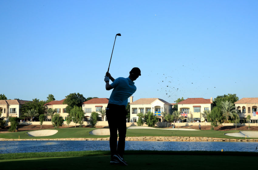 DUBAI, UNITED ARAB EMIRATES - NOVEMBER 22: Marcus Kinhult plays his third shot on the 17th hole during Day Two of the DP World Tour Championship Dubai at Jumeirah Golf Estates on November 22, 2019 in Dubai, United Arab Emirates. (Photo by Andrew Redington/Getty Images)
