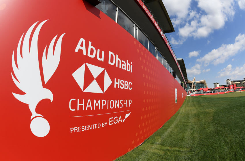 ABU DHABI, UNITED ARAB EMIRATES - JANUARY 14: A detailed view of Abu Dhabi HSBC Championship branding on the eighteenth ahead of the Abu Dhabi HSBC Championship at Abu Dhabi Golf Club on January 14, 2020 in Abu Dhabi, United Arab Emirates. (Photo by Ross Kinnaird/Getty Images)