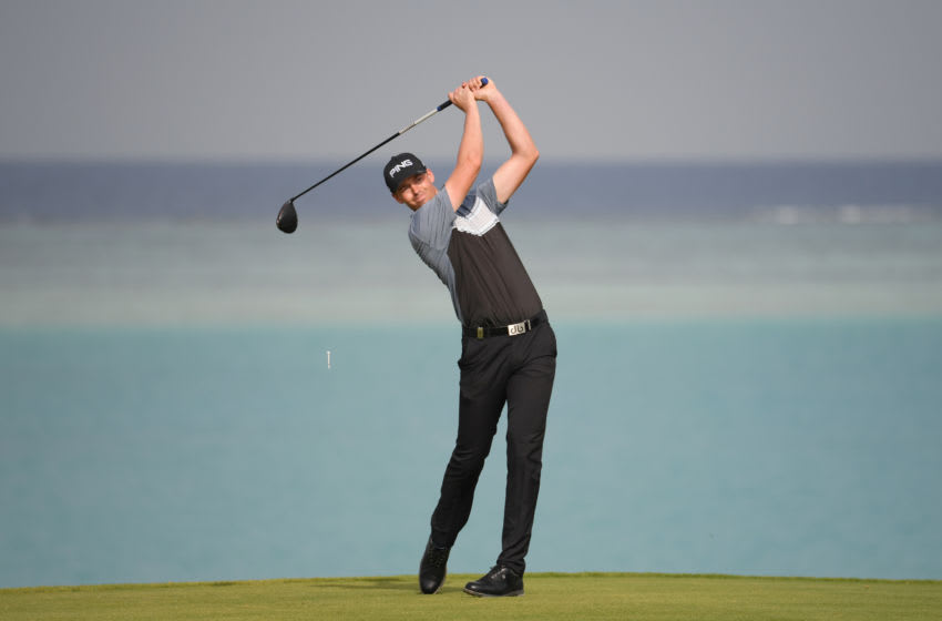 UNSPECIFIED, SAUDI ARABIA - JANUARY 31: Victor Perez of France tees off on the 17th hole during Day 2 of the Saudi International at Royal Greens Golf and Country Club on January 31, 2020 in King Abdullah Economic City, Saudi Arabia. (Photo by Ross Kinnaird/Getty Images)