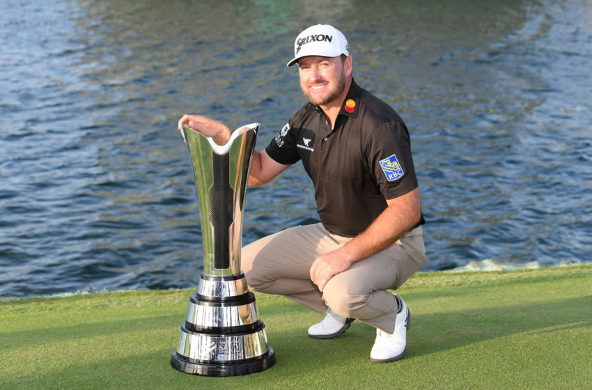KING ABDULLAH ECONOMIC CITY, SAUDI ARABIA - FEBRUARY 02: Graeme McDowell of Northern Ireland poses with the trophy during Day 4 of the Saudi International at Royal Greens Golf and Country Club on February 02, 2020 in King Abdullah Economic City, Saudi Arabia. (Photo by Ross Kinnaird/Getty Images)
