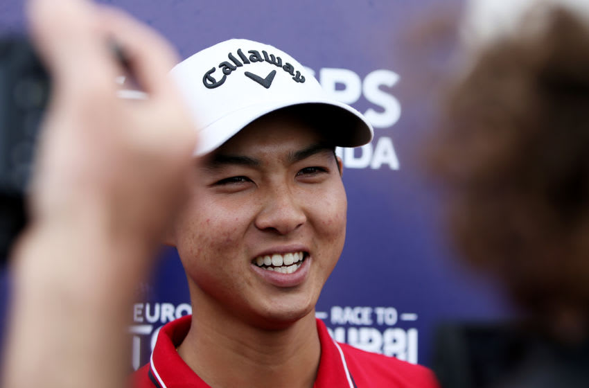 GEELONG, AUSTRALIA - FEBRUARY 09: Min Woo Lee of Australia speaks with the media after winning the ISPS Handa Vic Open on Day Four at 13th Beach Golf Club on February 09, 2020 in Geelong, Australia. (Photo by Jack Thomas/Getty Images)