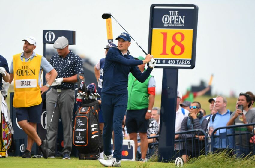 US golfer Jordan Spieth watches his drive from the 18th tee during his first round on day one of The 149th British Open Golf Championship at Royal St George's, Sandwich in south-east England on July 15, 2021. - RESTRICTED TO EDITORIAL USE (Photo by ANDY BUCHANAN / AFP) / RESTRICTED TO EDITORIAL USE (Photo by ANDY BUCHANAN/AFP via Getty Images)