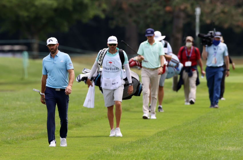 CROMWELL, CONNECTICUT - JUNE 28: Dustin Johnson of the United States walks on the fifth hole during the final round of the Travelers Championship at TPC River Highlands on June 28, 2020 in Cromwell, Connecticut. (Photo by Rob Carr/Getty Images)
