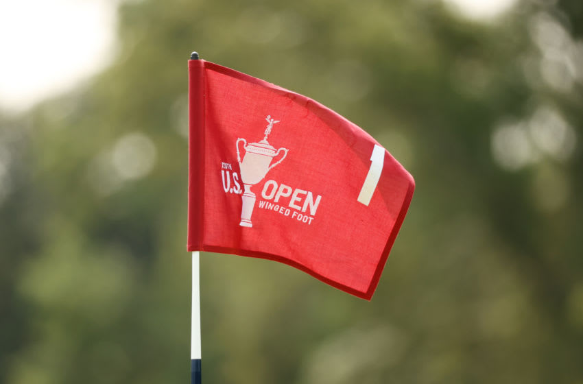 MAMARONECK, NEW YORK - SEPTEMBER 15: A detailed view the first hole flag is seen during a practice round prior to the 120th U.S. Open Championship on September 15, 2020 at Winged Foot Golf Club in Mamaroneck, New York. (Photo by Gregory Shamus/Getty Images)