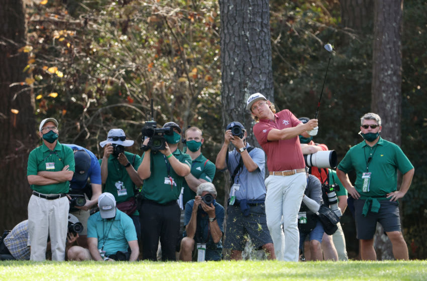 AUGUSTA, GEORGIA - NOVEMBER 15: Cameron Smith of Australia plays a shot on the 15th hole during the final round of the Masters at Augusta National Golf Club on November 15, 2020 in Augusta, Georgia. (Photo by Jamie Squire/Getty Images)