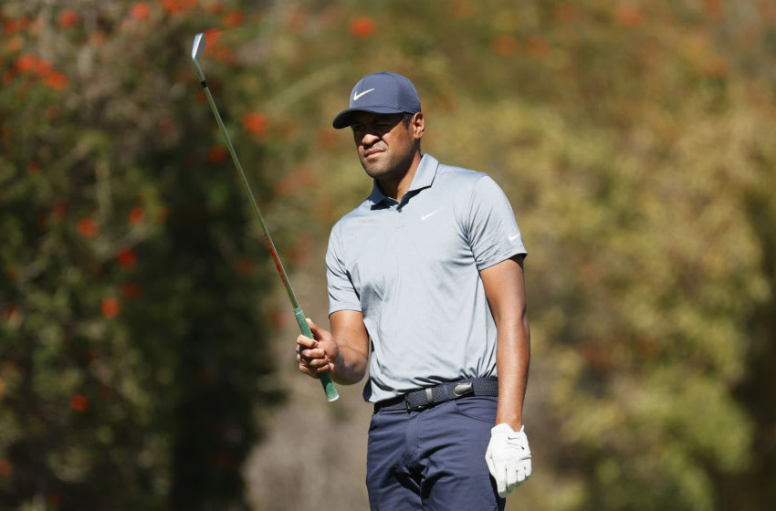 PACIFIC PALISADES, CALIFORNIA - FEBRUARY 19: Tony Finau of the United States prepares to play his shot from the fourth tee during the second round of The Genesis Invitational at Riviera Country Club on February 19, 2021 in Pacific Palisades, California. (Photo by Steph Chambers/Getty Images)