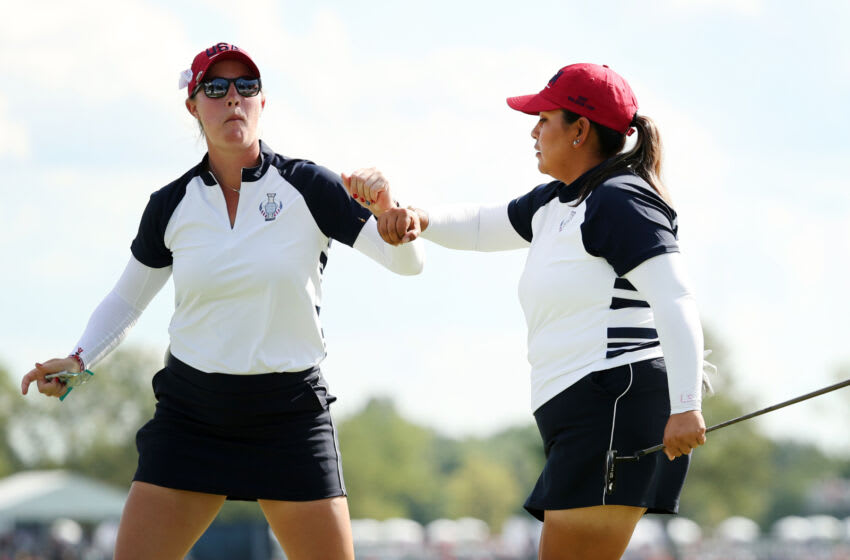 TOLEDO, OHIO - SEPTEMBER 05: Jennifer Kupcho of Team USA and Lizette Salas of Team USA react on the 13th hole during the Fourball Match on day two of the Solheim Cup at the Inverness Club on September 05, 2021 in Toledo, Ohio. (Photo by Maddie Meyer/Getty Images)