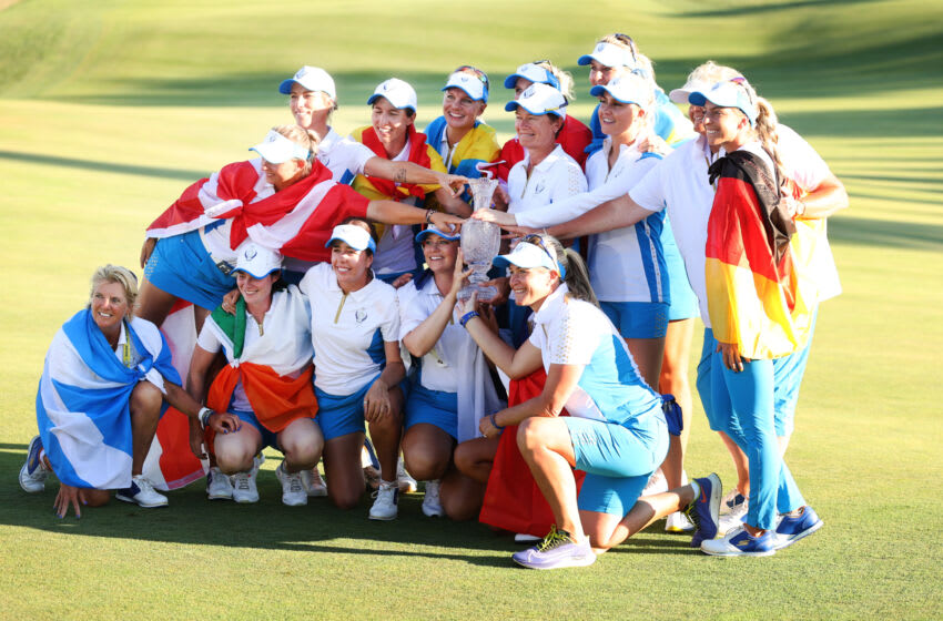 TOLEDO, OHIO - SEPTEMBER 06: Team Europe poses with the Solheim Cup after their win over Team USA during day three of the Solheim Cup at the Inverness Club on September 06, 2021 in Toledo, Ohio. (Photo by Maddie Meyer/Getty Images)