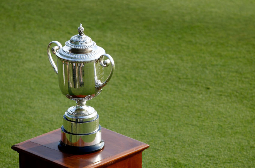 KIAWAH ISLAND, SC - AUGUST 12: The Wanamaker Trophy is displayed near the 18th green during the Final Round of the 94th PGA Championship at the Ocean Course on August 12, 2012 in Kiawah Island, South Carolina. (Photo by Sam Greenwood/Getty Images)