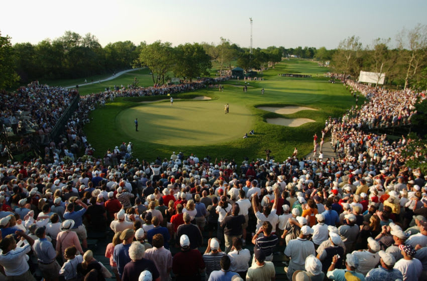 OLYMPIA FIELDS, IL - JUNE 15: A general view of the final putt on the 18th green during the final round of the 2003 US Open on the North Course at the Olympia Fields Country Club on June 15, 2003 in Olympia Fields, Illinois. (Photo by Matthew Stockman/Getty Images)