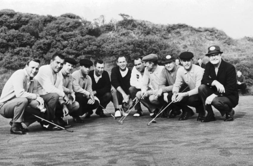 The American Ryder Cup team in Scotland, 6th October 1965. From left to right, they are team captain Byron Nelson, Tommy Jacobs, Billy Casper, Don January, Johnny Pott, Tony Lema, Ken Venturi, Dave Marr, Gene Littler, Julius Boros and Arnold Palmer. (Photo by Hulton Archive/Getty Images)