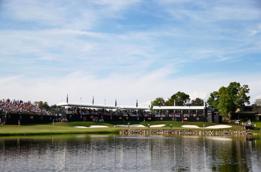 ORLANDO, FL - MARCH 22: A general view of the 18th hole is seen during the final round of the Arnold Palmer Invitational Presented By MasterCard at the Bay Hill Club and Lodge on March 22, 2015 in Orlando, Florida. (Photo by Sam Greenwood/Getty Images)