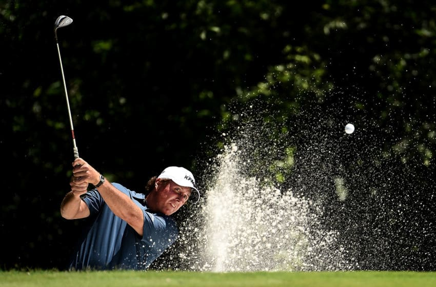 FORT WORTH, TX - MAY 25: Phil Mickelson plays a shot from a bunker on the fifth hole during Round One of the DEAN & DELUCA Invitational at Colonial Country Club on May 25, 2017 in Fort Worth, Texas. (Photo by Stacy Revere/Getty Images)