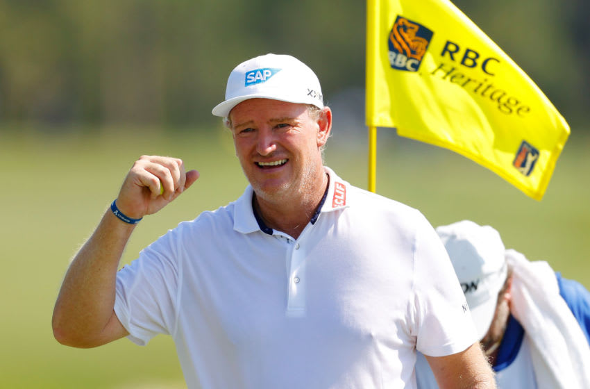 HILTON HEAD ISLAND, SOUTH CAROLINA - JUNE 20: Ernie Els of South Africa reacts on the 18th green during the third round of the RBC Heritage on June 20, 2020 at Harbour Town Golf Links in Hilton Head Island, South Carolina. (Photo by Kevin C. Cox/Getty Images)