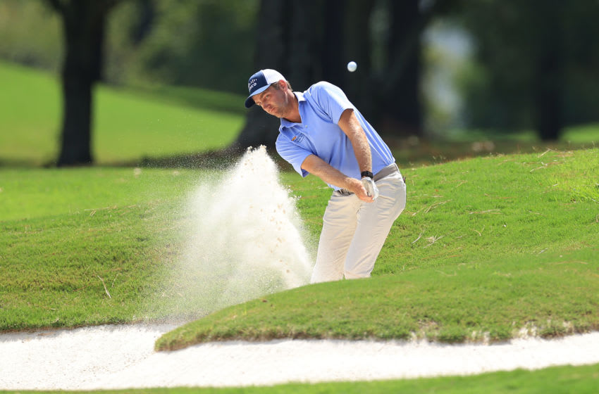 MEMPHIS, TENNESSEE - JULY 31: Brendon Todd of the United States plays a shot from a bunker on the 16th hole during the second round of the World Golf Championship-FedEx St Jude Invitational at TPC Southwind on July 31, 2020 in Memphis, Tennessee. (Photo by Andy Lyons/Getty Images)
