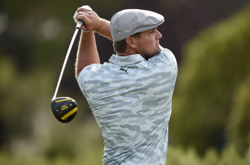 Oct 10, 2020; Las Vegas, Nevada, USA; Bryson DeChambeau hits a provisional tee shot on the ninth hole during the third round of the Shriners Hospitals for Children Open golf tournament at TPC Summerlin. Mandatory Credit: Kelvin Kuo-USA TODAY Sports