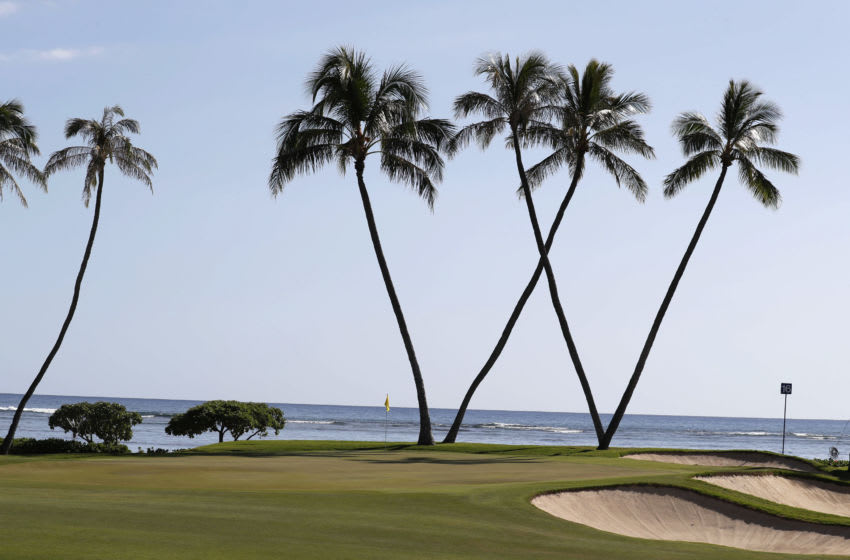 Jan 14, 2018; Honolulu, HI, USA; A general view of the 17th green with the palm trees forming a W for Waialae Country Club as seen during the final round of the Sony Open golf tournament at Waialae Country Club. Mandatory Credit: Brian Spurlock-USA TODAY Sports