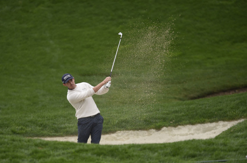 Oct 25, 2020; Thousand Oaks, California, USA; Patrick Cantlay hits out of the bunker on the 16th hole during the Final round of the Zozo Championship golf tournament at Sherwood Country Club. Mandatory Credit: Kelvin Kuo-USA TODAY Sports