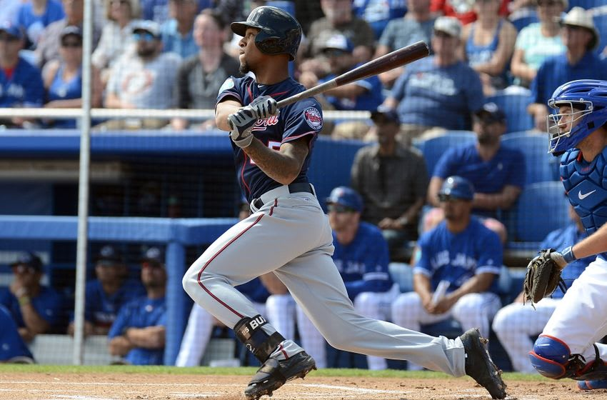 Mar 8, 2016; Dunedin, FL, USA; Minnesota Twins outfielder Byron Buxton (25) hits a ground ball in the first inning of the spring training game against the Toronto Blue Jays at Florida Auto Exchange Park. Mandatory Credit: Jonathan Dyer-USA TODAY Sports