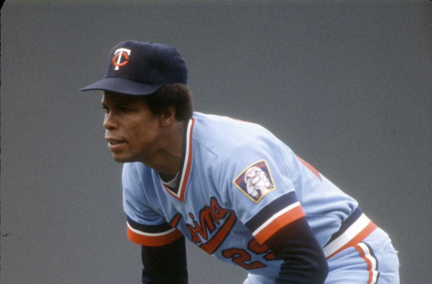 Rod Carew of the Minnesota Twins down and ready to make a play. (Photo by Focus on Sport/Getty Images)